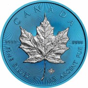 Canada CANADIAN MAPLE LEAF SPACE BLUE series SPACE EDITION $5 Dollar Silver Coin 2019 Galvanic plated 1 oz